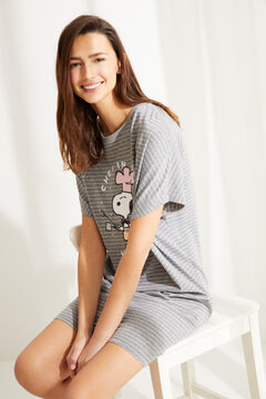 Womensecret Snoopy short striped cotton nightgown grey