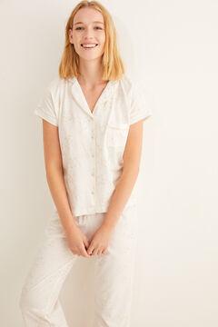 Womensecret Hemdpyjama kurzärmelig Capri Weiß