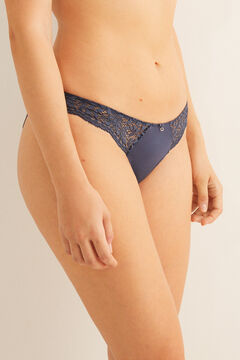 Womensecret Classic blue lace and microfibre panty blue