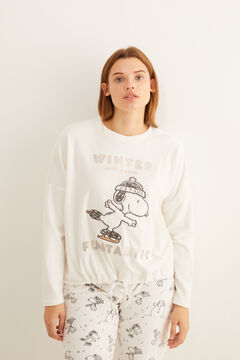 Womensecret Long velour Snoopy pyjamas beige