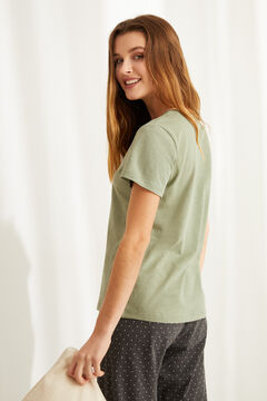 Womensecret Green cotton Henley t-shirt printed