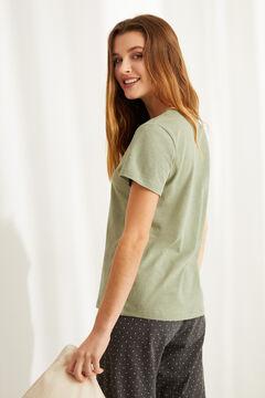 Womensecret Camiseta panadera algodón verde estampado