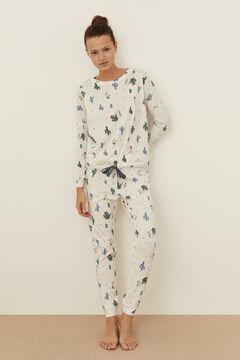 Womensecret Long ivory cotton Snoopy pyjamas red