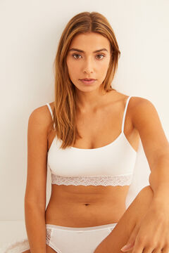 Womensecret Lace underband seam-free crop top  white