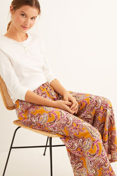 Womensecret Long wide leg printed trousers printed