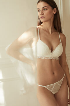 Womensecret White flocked tulle and lace tanga white