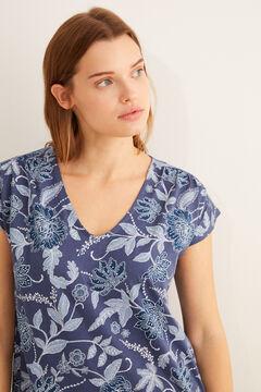 Womensecret Rövid ujjú, virágmintás, kék midi hálóing kék