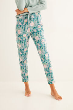 Womensecret Long green printed pyjama bottoms green