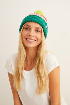 Womensecret Multistripe lime pompom hat white