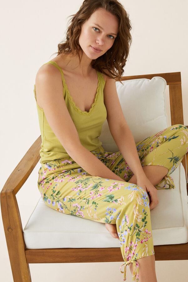 Womensecret Pantalón pijama capri flores beige 5f024b20f27