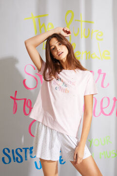 Womensecret Pink organic cotton short pyjamas with short sleeves pink