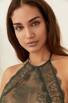 Womensecret Short green lace nightgown green