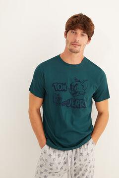 Womensecret Tom és Jerry mintás, rövid ujjú férfi pizsama zöld