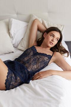 Womensecret Short lace pyjamas blue