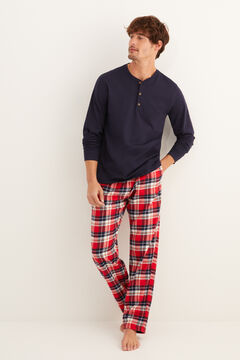Womensecret Long checked winter pyjamas blue