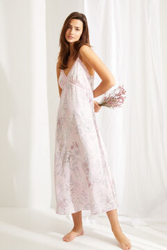 Womensecret Long pink floral print satin nightgown pink