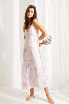 Womensecret Camisón largo satén estampado floral rosa rosa