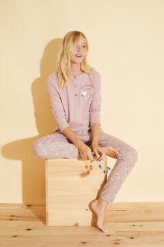 Womensecret Long pink cotton pyjamas pink