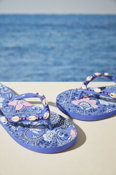 Womensecret Floral blue flip-flops with shells blue