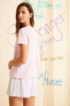 Womensecret Pink organic cotton short pyjamas with short sleeves pink