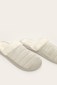 Womensecret Grey fur slingback slippers grey