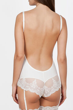 Womensecret Ivette Bridal white backless bodysuit with push-up cups beige
