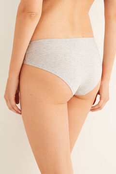Womensecret Grey cotton and tulle boyshort panty grey