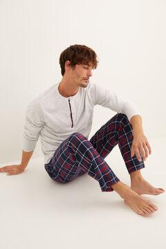 Womensecret Kockás, hosszú, szürke férfi pizsama szürke