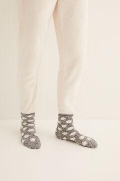 Womensecret Középhosszú, csúszásgátlós, pöttyös, bolyhos zokni  szürke