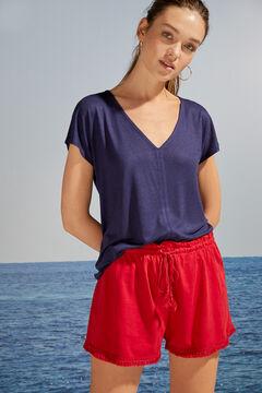 Womensecret Pantalon court franges rouge rouge