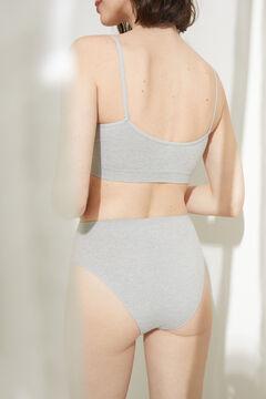 Womensecret Culotte haute tanga sans coutures grise gris