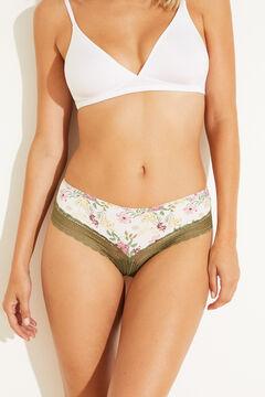 Womensecret Floral microfibre wide side Brazilian panty yellow