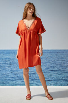 Womensecret Robe courte orange brillante rouge