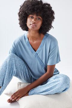 Womensecret Long blue floral pyjamas blue