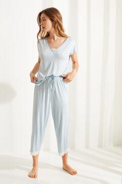 Womensecret Pijama manga corta Capri punto súper soft azul manchas verde
