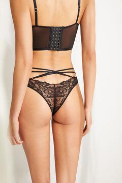 Womensecret Braguita brasileña encaje gomas cruzadas negro negro