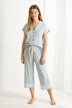 Womensecret Classic long blue 100% sustainable cotton pyjamas blue