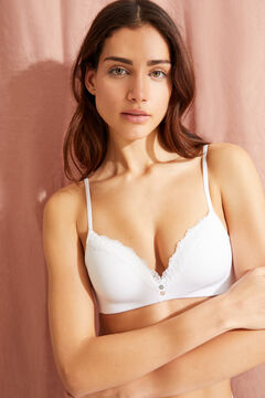 Womensecret LOVELY triangle bra without underwire, in organic cotton with lace trim beige