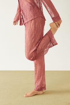 Womensecret Classic pink long lace pyjamas pink