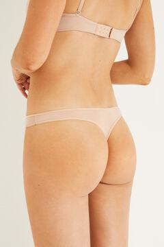 Womensecret 3 microfiber thongs pack nude