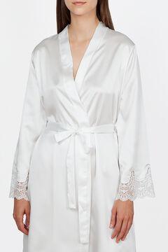 Womensecret Ivette Bridal women's short white satiny robe beige