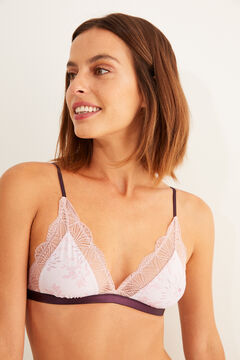 Womensecret Pink lace and printed microfibre triangle bra red