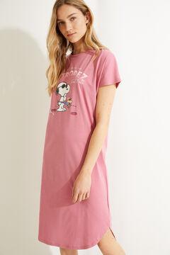 Womensecret Camisa de dormir curta de malha 100% algodão cor-de-rosa rosa