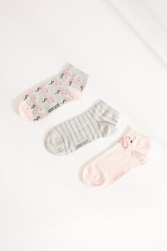 Womensecret 3-pack striped flamingo cotton short socks printed
