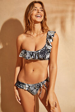 Womensecret Tropical print bikini top with ruffle nude