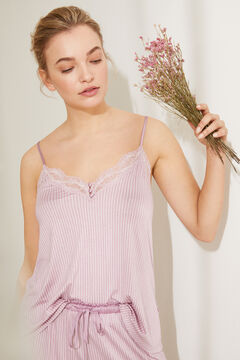 Womensecret Short vest pyjamas in super soft pink jersey-knit pink