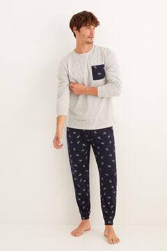 Womensecret Pijama largo hombre gris bolsillo gris