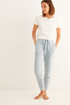 Womensecret Pantalon long microvelours côtelé bleu vert