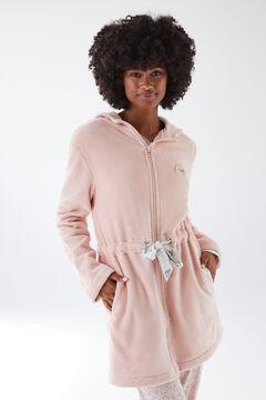 Womensecret Robe de chambre fermeture à glissière fourrure rose rose