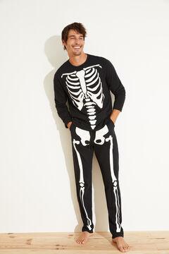 Womensecret Pijama esqueleto algodón negro